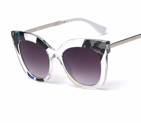 Multicolored Transparent Round Cat Eye Sunglasses