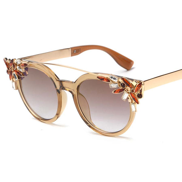 Twin Beam Chic Retro Crystal Cat Eye Sunglasses