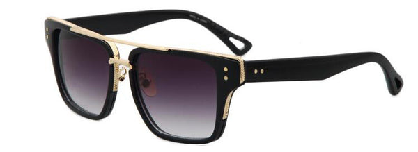 Gold Framed Rectangle Unisex Sunglasses