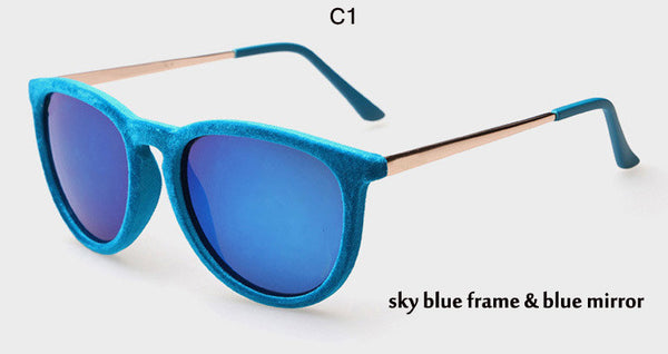 Chic Velvet Frame Cat Eye Sun Glasses