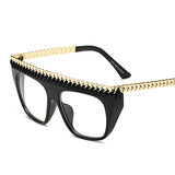 Leather and Gold Chain Braided Frame Flat Top Sunglasses