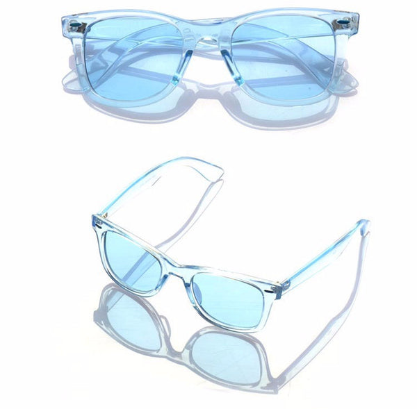 Transparent Frame Unisex Rectangle Sunglasses