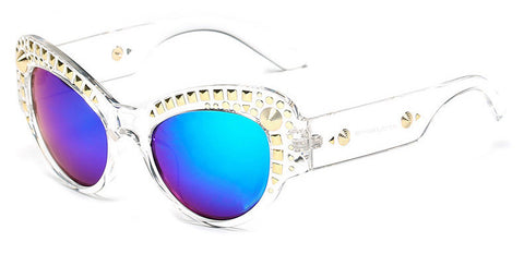 Gold Studded Frame Cat Eye Sunglasses
