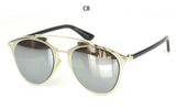Metallic Chrome Mirrored Flat Top Punk Vintage Pilot Sunglasses