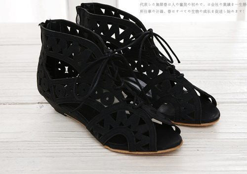 Cutouts Lace Up Flat Sandals