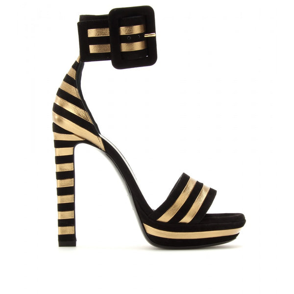 Suede and Leather Black And Gold Ankle Buckle Platform Heels