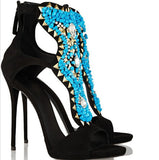 Turquoise Beaded High Heel Sandals