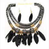 Geometric Bohemian Pipe and Feathers Necklace Set With Earrings