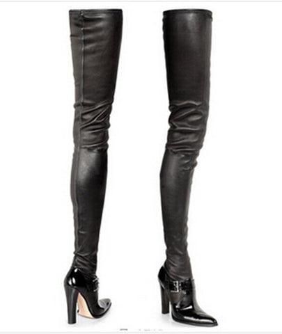 Genuine Leather Thigh High Buckle Boots