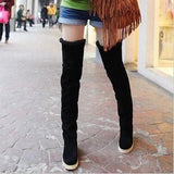 Feminas Thigh High Suede and Faux Fur Lined Flat Boots