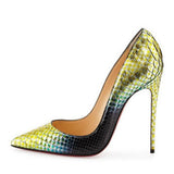 Handmade Genuine Leather Multicolored Red Bottom Snakeskin Embossed Pumps