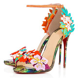 Flowers and Snakeprint Handmade Genuine Leather High Heel Sandals