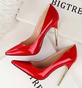 Patent Leather Simplicity Metal Heel Stiletto Pumps