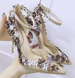 Flowers and Sequins Ankle Strap British Retro High Heel Pumps