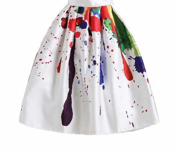 Graffiti Paint High Waist Midi Skirt