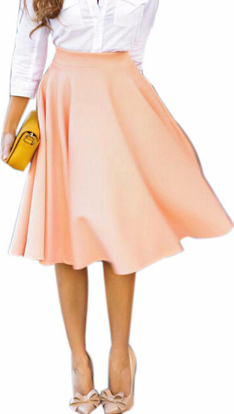 Perfect Peach A-line Flared High Waist Midi Skirt
