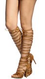CAMEL BROWN OPEN TOE MULTI LACE UP KNEE HIGH GLADIATOR BOOTS