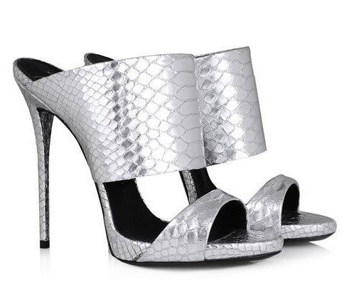 Elegant Metallic Snakeskin High Heel Mule Sandals