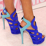 Suede Classic Style Mixed Color Cut Out Platform Sandals