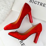 NYC Red Bottom Suede Square Heel Pumps