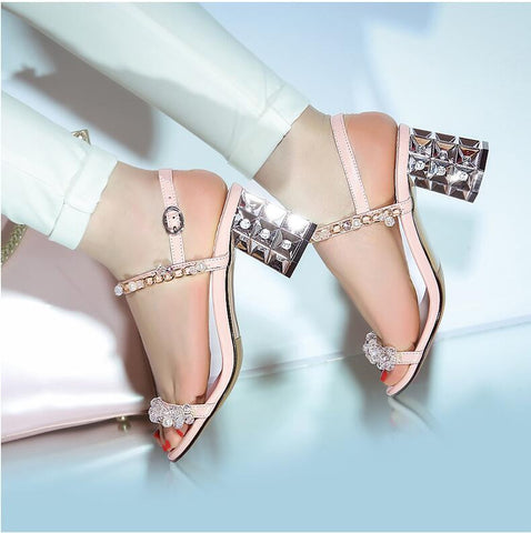Diamonds are Forever Crystal Block Heel Sandals