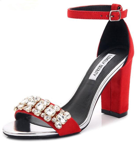 Lady in Red Ankle Strap Crystal Block Heel Sandals