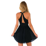 Deep Plunge V Neck Halter Back Keyhole Pleated  Mini Chiffon Skater Dress