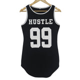 Hustle 99 Letter Print Sleeveless Asymmetrical Curve Hem Basic Long Tee Mini Shift Dress