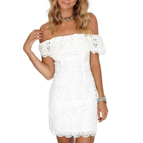 Bohemian Backless Off The Shoulder Fringe Lace Crochet Hollow Out Mini Beach Dress