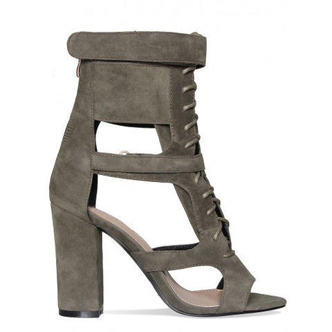 2c56fc9ee59 Suede Chunky Heel T-Strap Gladiator Sandals.  178.99 USD