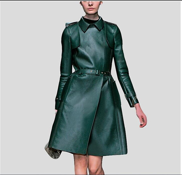 Mandarin Collar Vegan Leather Bottle Green Trench Coat