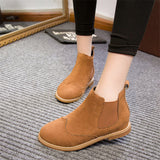 Handmade Genuine Leather Suede Slip On Ankle Boots