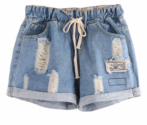 Ripped Drawstring Waist Rolled Hem Blue Twin Pockets Denim Shorts