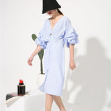 Temperament Lantern Short Sleeve V-Neck Blue Striped Dress