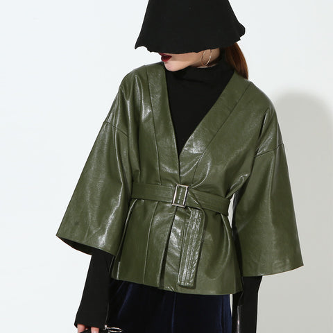 Army Green Sash Vegan Leather Three Quarter Jacket