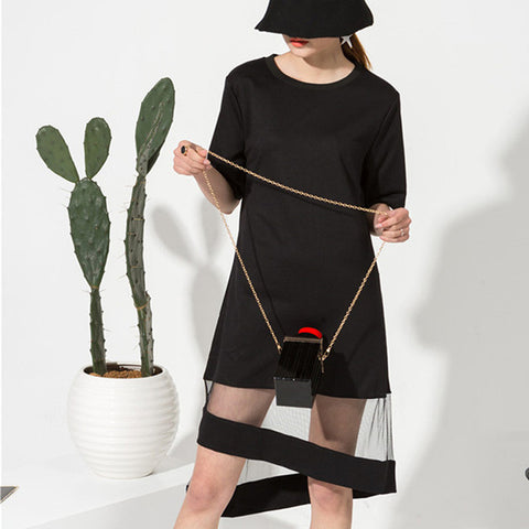 Asymmetrical Black Mesh and Sweater Dress