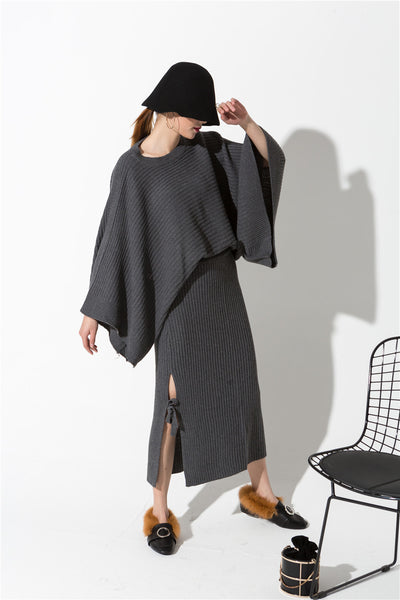 Ankle Length Batwing Elastic Waist Knit Dress