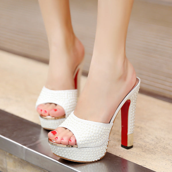 Red Bottoms and Pearls High Heel Mules