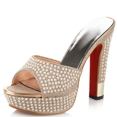a8bb53922b1 Red Bottoms and Pearls High Heel Mules