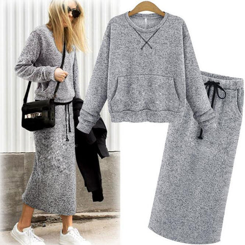 Knit Suit Long Sleeve Sweater Top + Ankle Length Pencil Skirt
