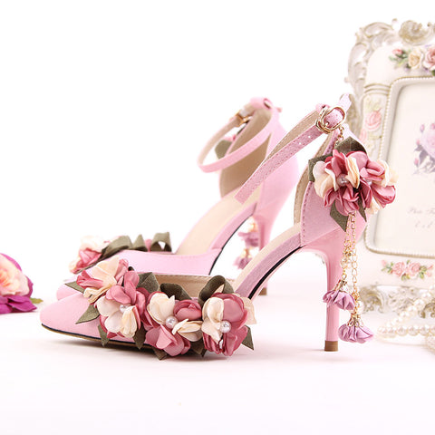Blushing Beauty Flower High Heel Sandals