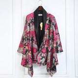 Luxurious Convertible Elegant  Silky Floral Coat