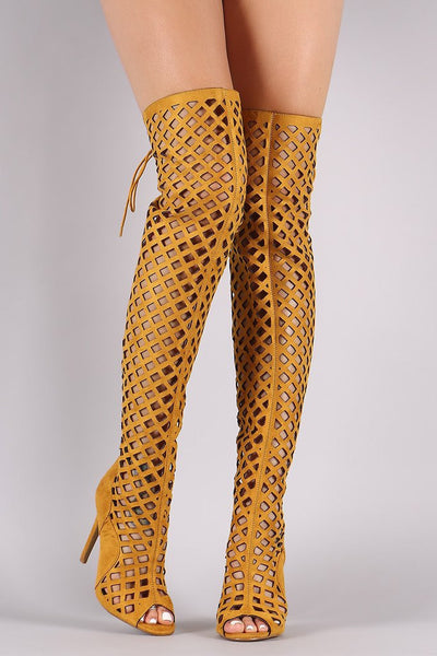 AMBER OPEN TOE MULTI DIAMOND CUT OUT LACE UP THIGH HIGH BOOTS