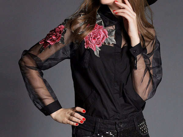 Embroidered Organza Floral Shirt