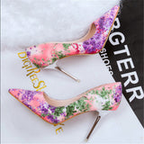 Spring Flowers Silver Heel Pumps