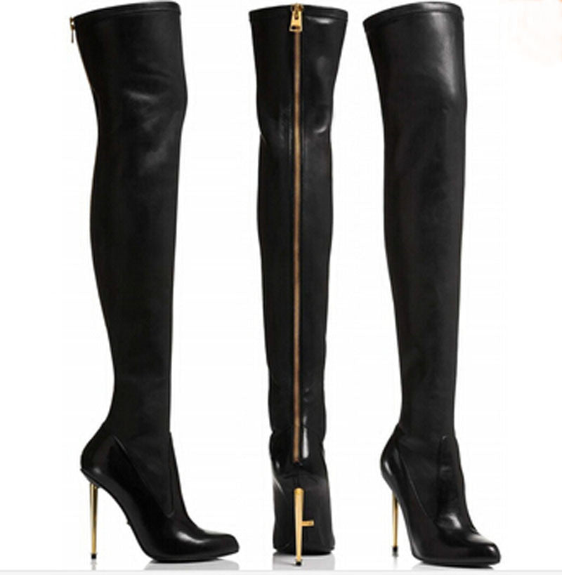 Euro Style Genuine Leather Pointed Toe Over The Knee Boots – THULI NYC