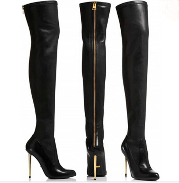Euro Style Genuine Leather Pointed Toe Over The Knee Boots