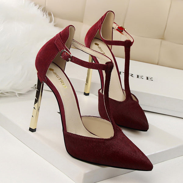 T-Strap Metal Heel  Pointed Toe Pumps
