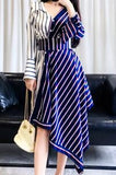 Asymmetrical Patchwork Two Toned Shirt Dress