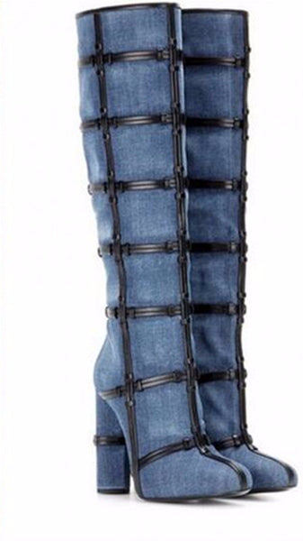 Rome Denim and Leather Caged Knee High Boots